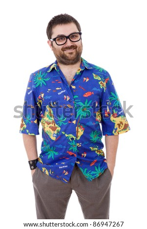 young silly man with a hawaiian shirt, isolated - stock photo