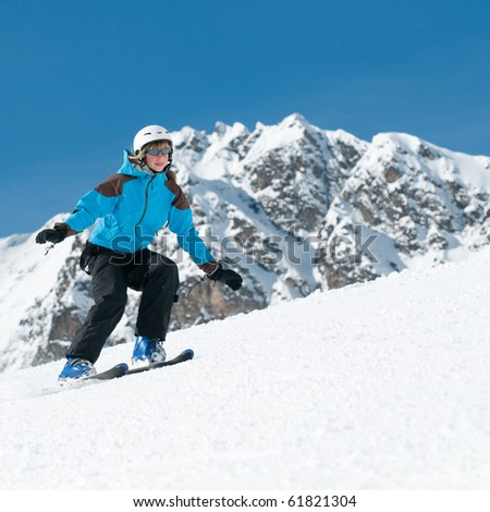Young skier - stock photo