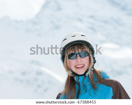 Young skier portrait - space for text