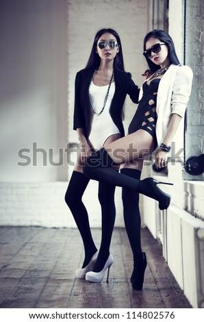 Young slim japanese women fashion. - stock photo