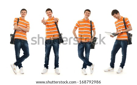 Young smart teenage boy isolated on white - Collection of many different photos - stock photo