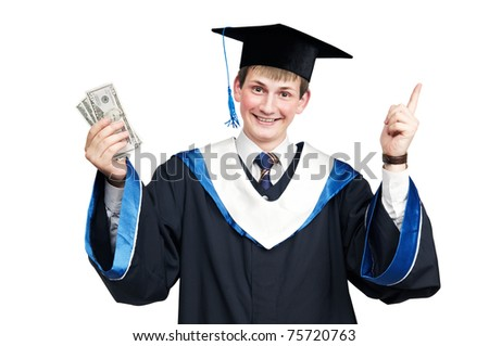 Young smiley graduate student in cloak with money and thumbs up isolated - stock photo