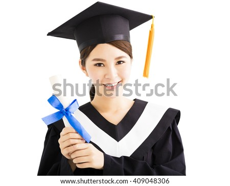 Young smiling asian female graduation with diploma - stock photo