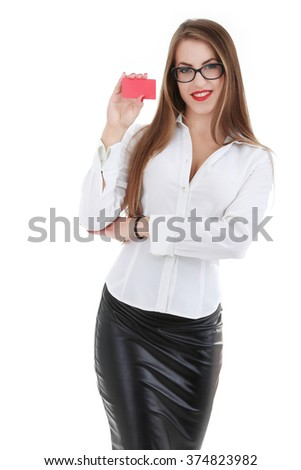 Young smiling beautiful sexy woman showing empty blank sign or gift card. Isolated on white - stock photo