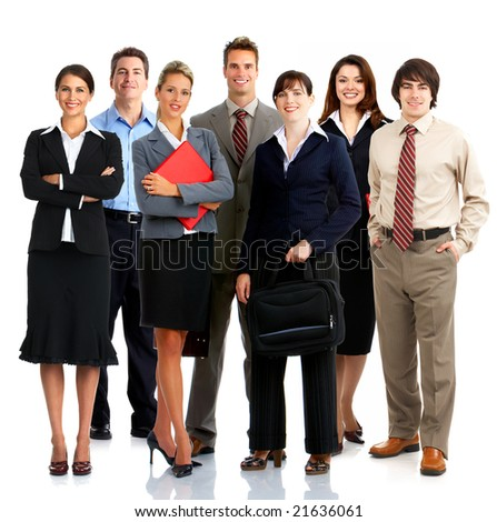 Young smiling  business people. Isolated over white background - stock photo
