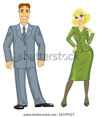 Young smiling business woman and business man. - stock photo