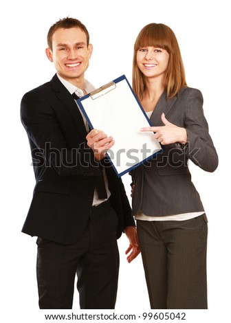 Young smiling business woman and business man holding clipboard, isolated on white background - stock photo