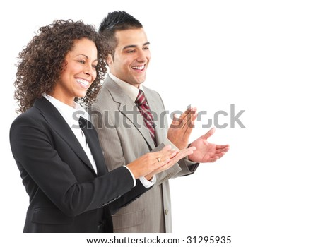 Young smiling  business woman and businessman - stock photo