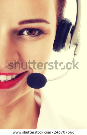 Young smiling business woman at call center.  - stock photo