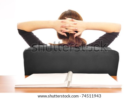 Young smiling business woman. Over white background. Overdone her work - stock photo