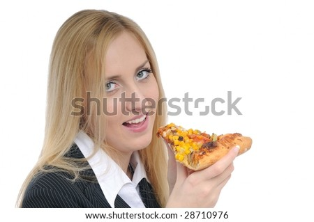 Young smiling business woman prepared to eat pizza isolated on white background