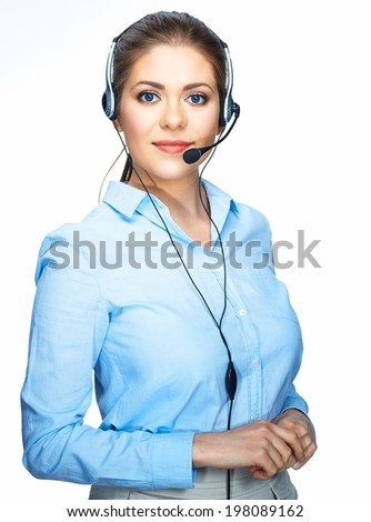 Young smiling business woman talking with microphone. Call center operator. White background. - stock photo