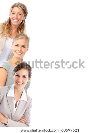 Young smiling  business women. Isolated over white background - stock photo