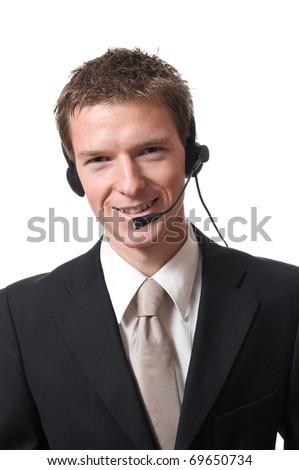 young smiling businessman talking with headset isolated on white background