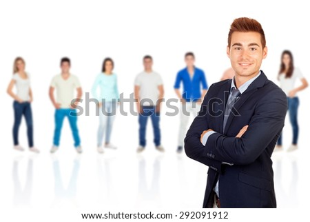 Young smiling businessman with casual young people of background - stock photo