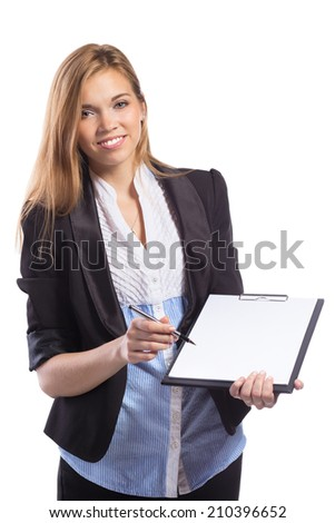 Young Smiling Businesswomen offers to sign a document holding clipboard and a pen Isolated on white background - stock photo
