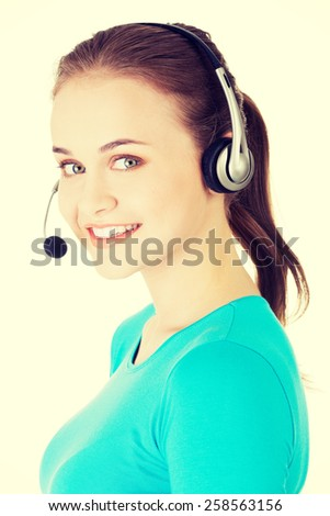 Young smiling call center woman. - stock photo