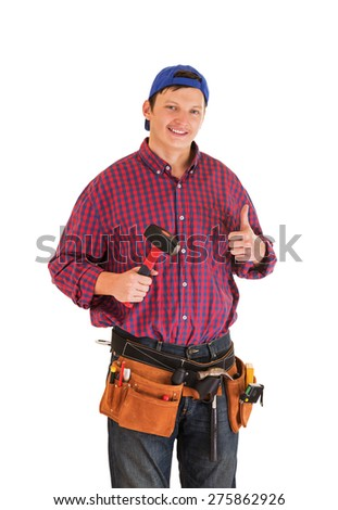 Young smiling construction worker isolated on white background