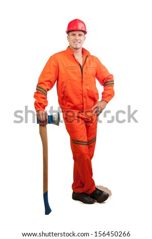 Young smiling construction worker with hard hat holding ax and in full uniform isolated on white. - stock photo