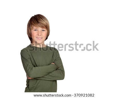 Young smiling cute teenager in green  isolated on white