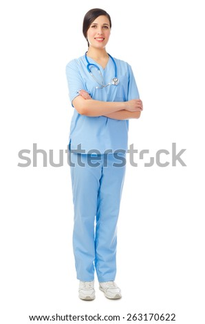 Young smiling doctor isolated on white - stock photo