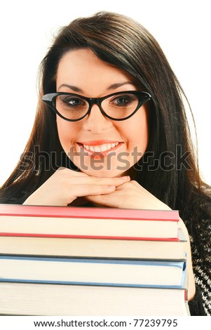 Young smiling female with books isolated on white - stock photo