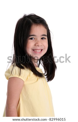Young smiling girl set on a white background