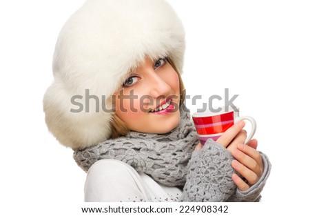 Young smiling girl with mug isolated - stock photo