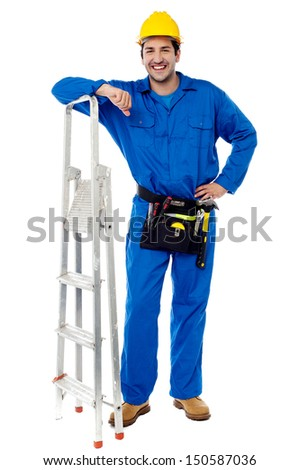 Young smiling isolated construction worker