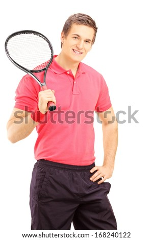 Young smiling man holding a tennis racket and posing isolated on white background - stock photo