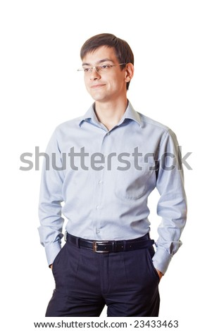 Young smiling man on white background - stock photo