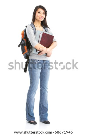 Young smiling  student woman. Over white background