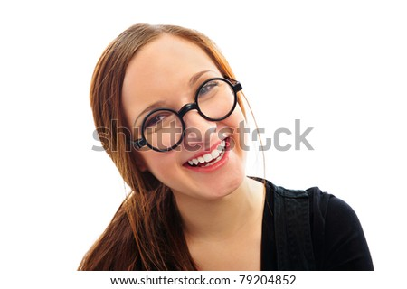 Young smiling student woman. Over white background. Smiling - stock photo