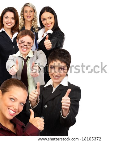 Young smiling successful  business women and team. Over white background - stock photo