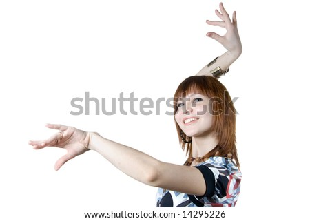 Young smiling woman dancing. Isolated on white background. Image with clipping path.
