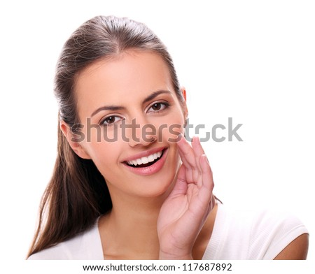 young smiling woman gesturing a verbal call against white background - stock photo
