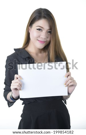 young smiling woman holding paper.