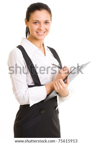 Young smiling woman in a business suit. Isolated on white background - stock photo