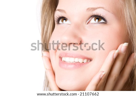 Young smiling woman portrait. Isolated on white. - stock photo