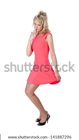 young smiling woman showing oops sign - stock photo