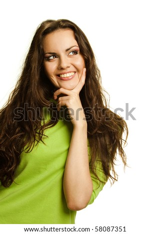 Young smiling woman Studio shot on a white background,isolated