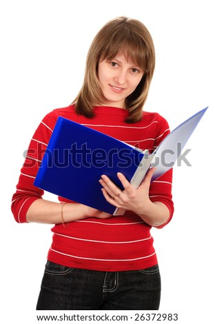 Young smiling woman with a folder. Isolated on white.