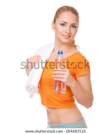 Young smiling woman with bottle isolated