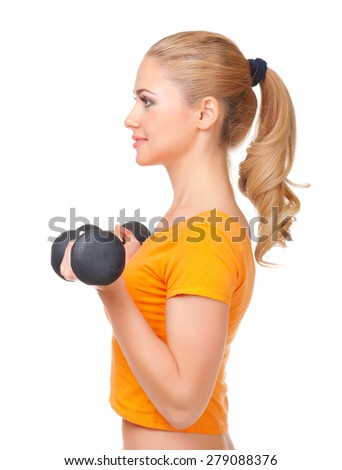 Young smiling woman with dumbbells isolated - stock photo
