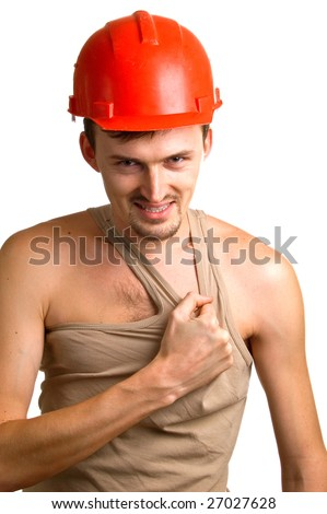 young smiling worker in a red building helmet. Isolation on white background