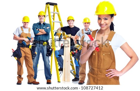 Young smiling Worker woman with a group of industrial staff. Isolated over white background - stock photo