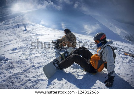 Young snowboarder - stock photo