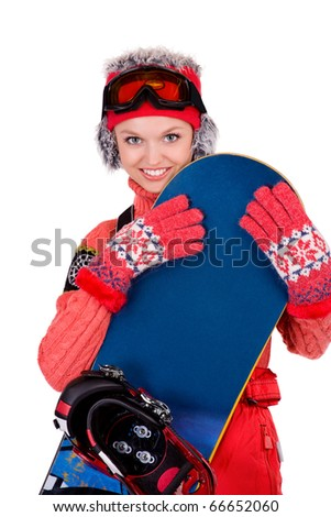young snowboarder girl in winter clothers with snowboard in her hands - stock photo