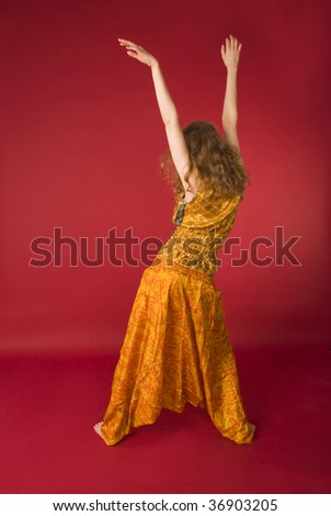 young sport girl at yoga - stock photo