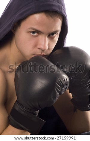 Young Sporty Boxing Man Doing Special Exercise Isolated on White Background with Path - stock photo